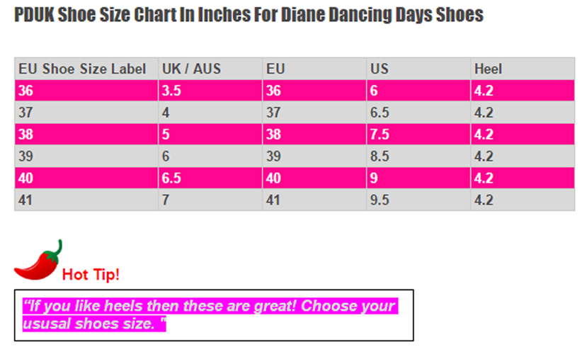 Dancing Days Diane Shoes Size Chart