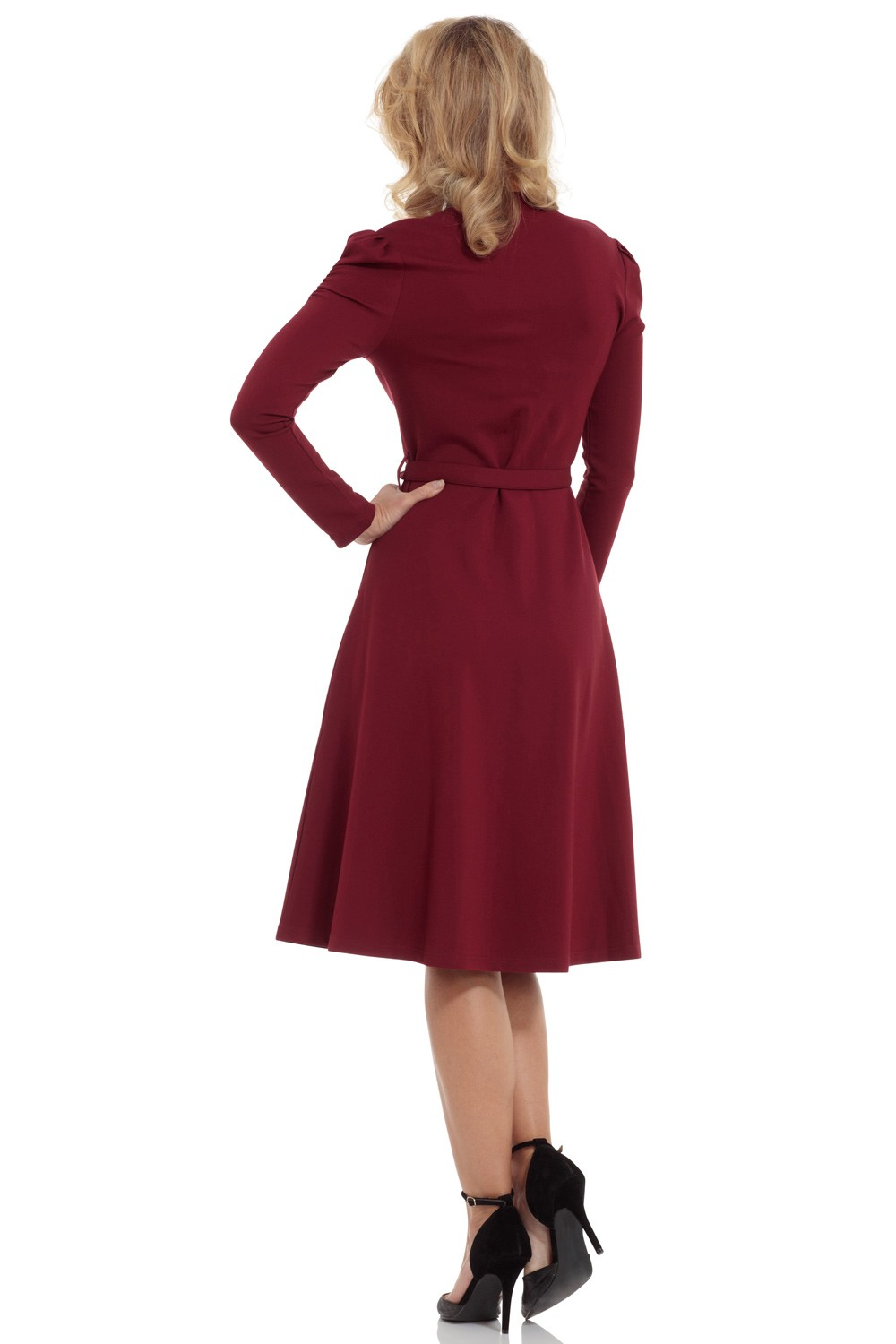 Vixen Burgundy Red Dita 1950s Swing Dress