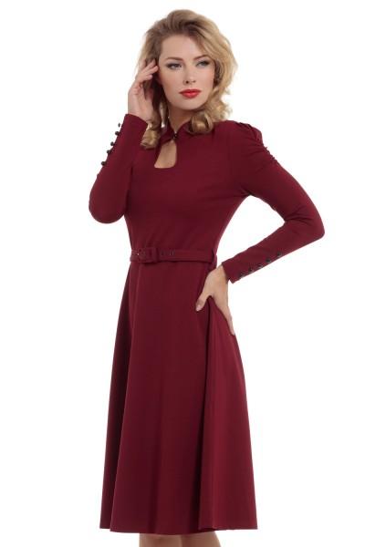 Vixen Burgundy Red Dita 1950s Swing Dress