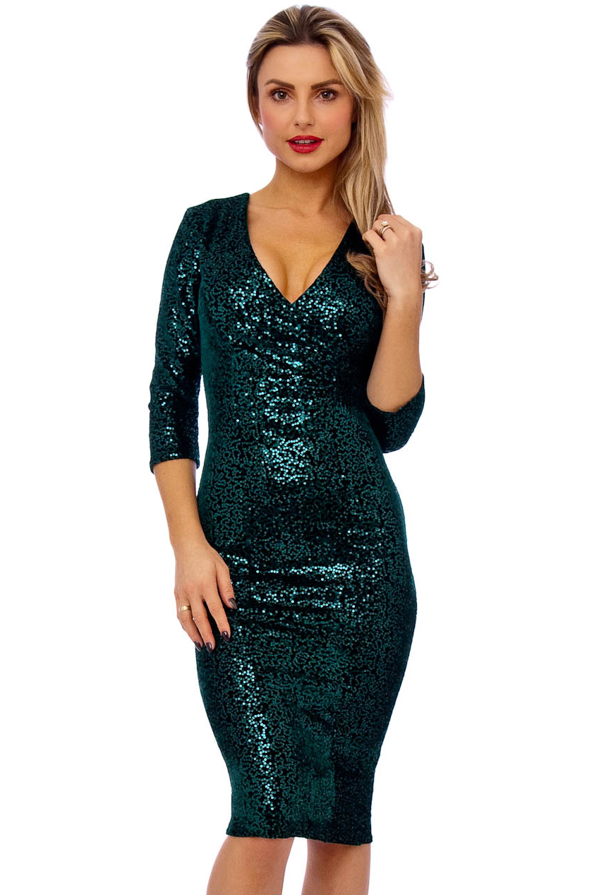 50s Beverley Emerald Sequin Velour Pencil Party Midi Dress