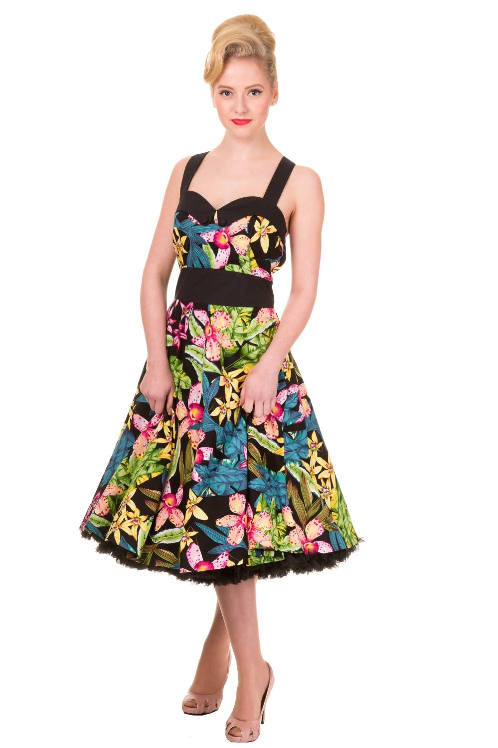 Banned Everlong Tropical Rockabilly Midi Dress
