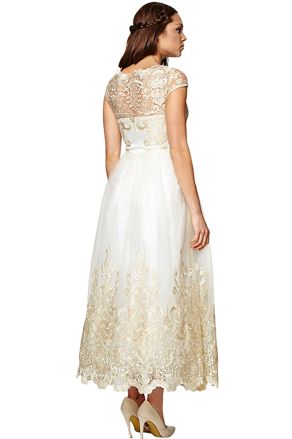 Felicity Cream 1950s Shankle Length Wedding Dress