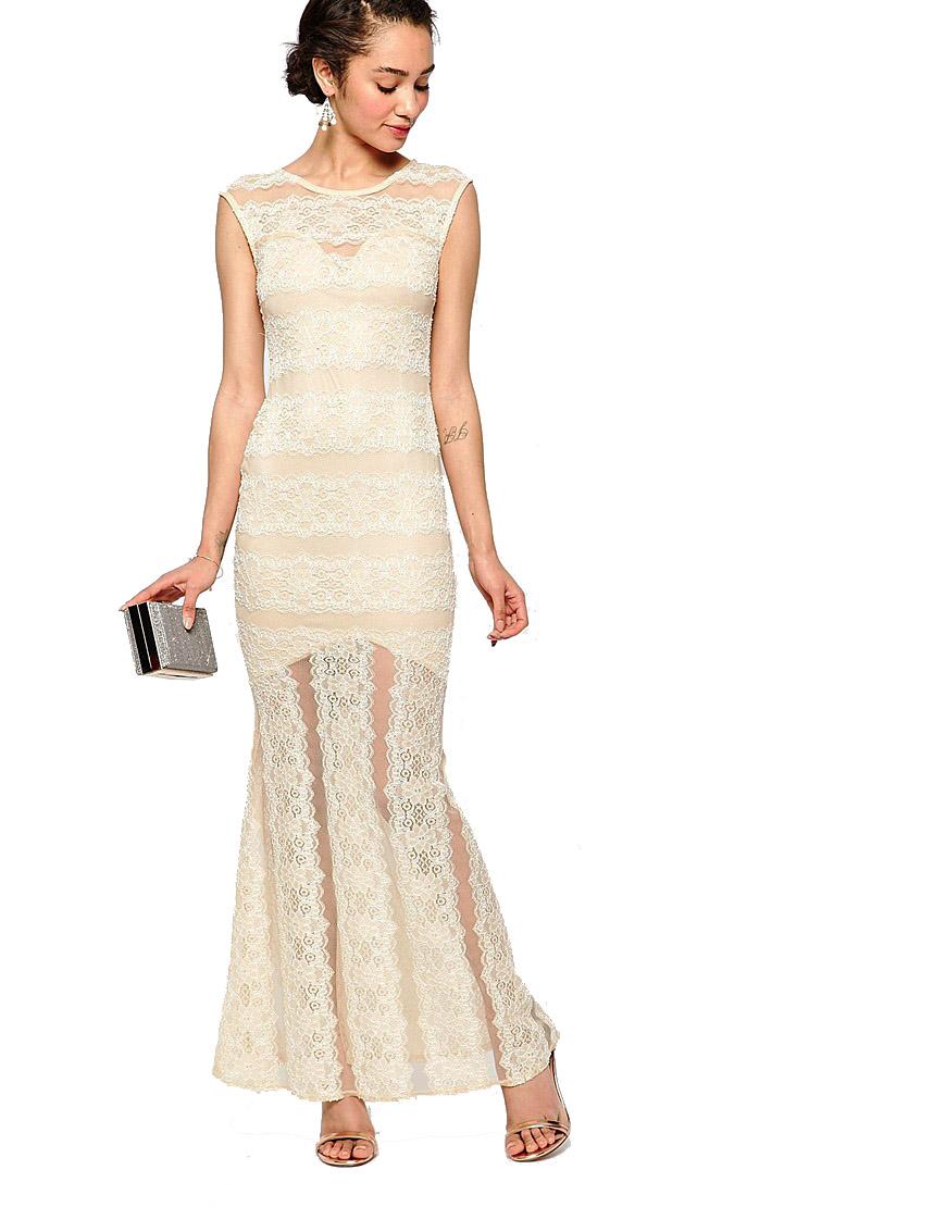 Champagne Alexa Petite Lace Maxi Fishtail Dress