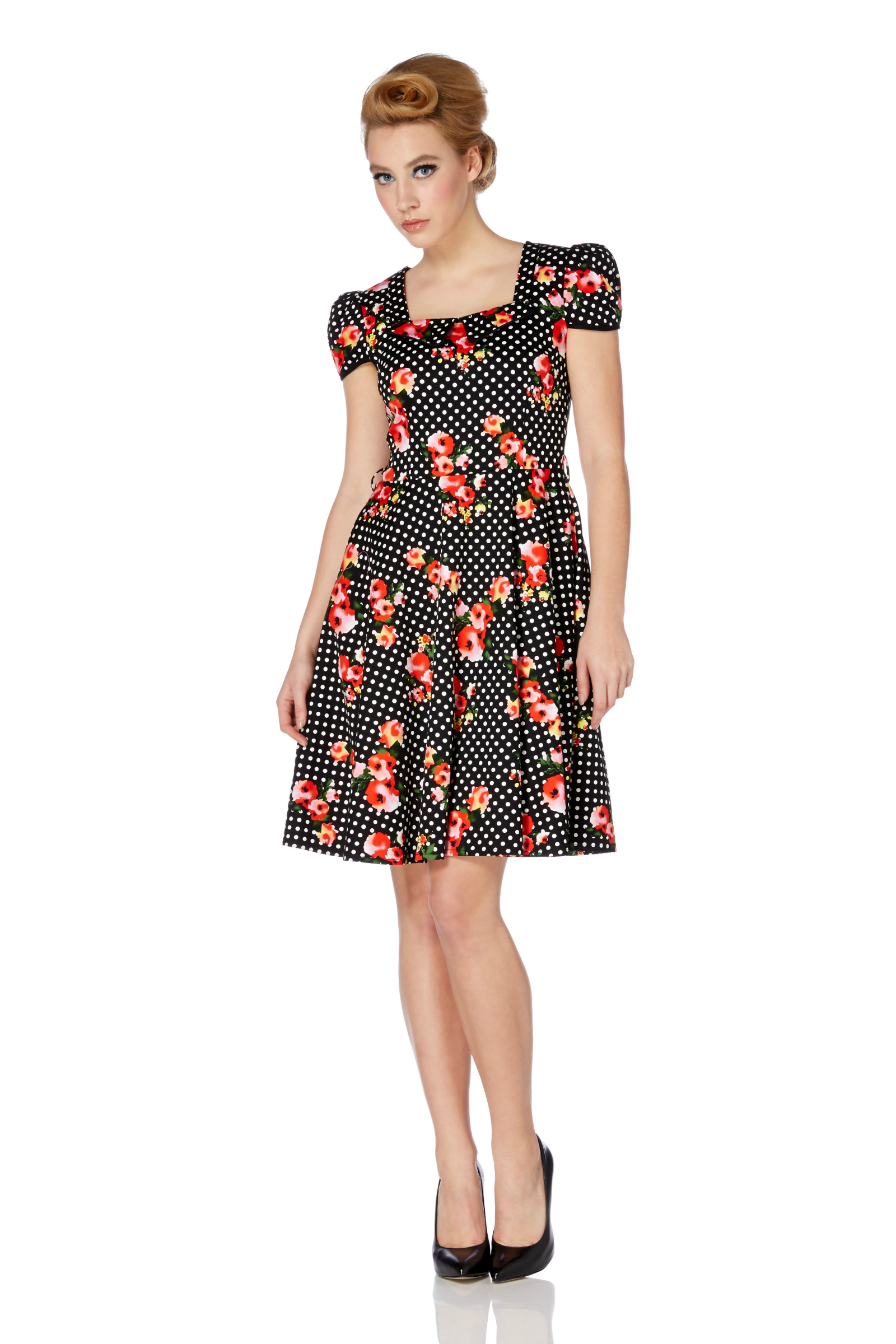 Voodoo Vixen Floral Polka Dot Dress
