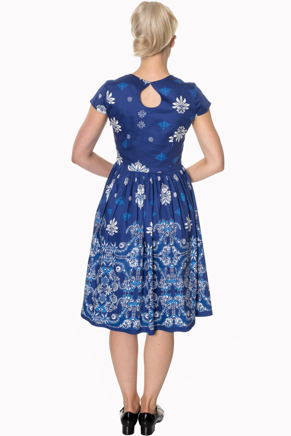 Dancing Days Follow You Blue 1950s Swing Dress