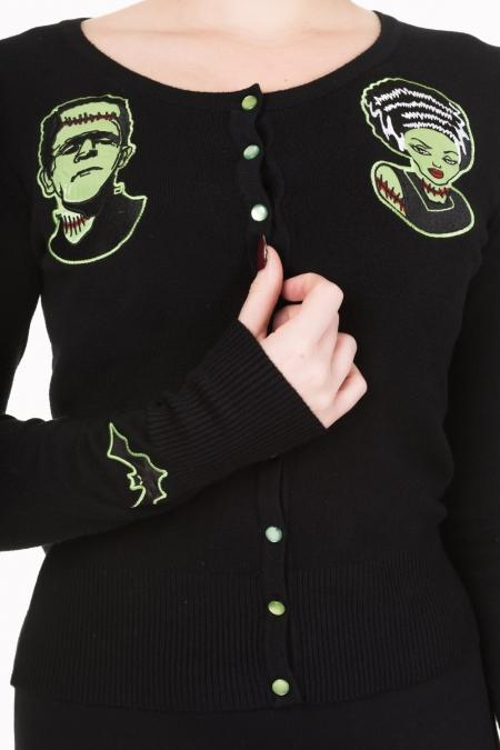 Black Frankenstein And Bride Rockabilly Emo Cardigan