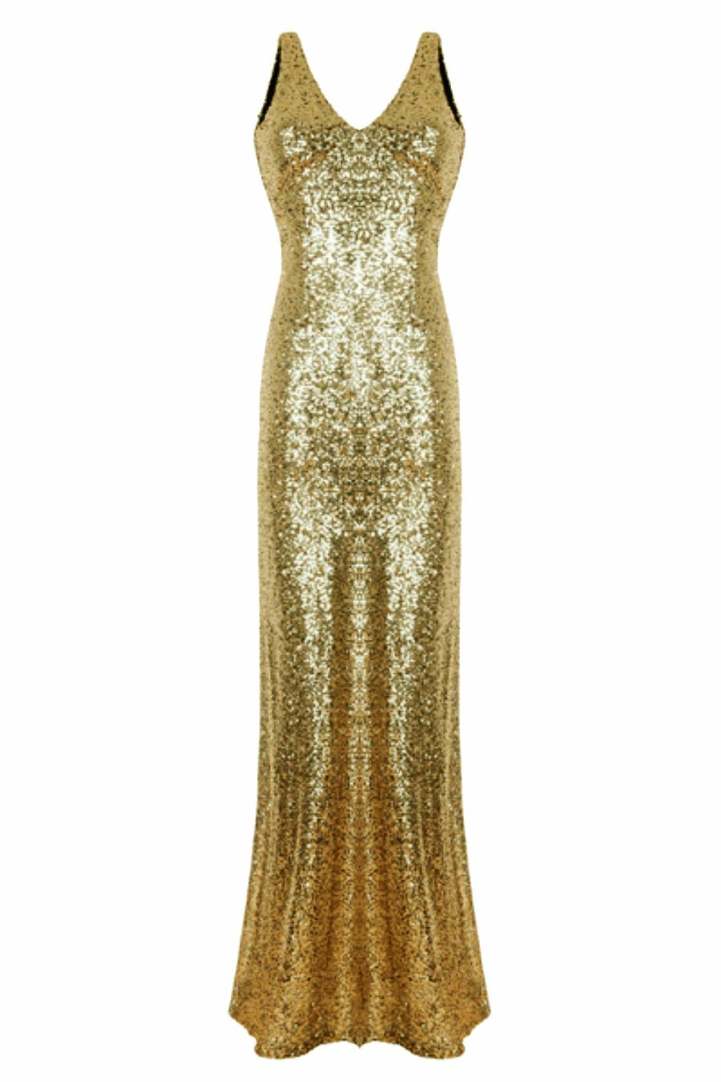 Gold Sequin Fishtail Maxi Dress