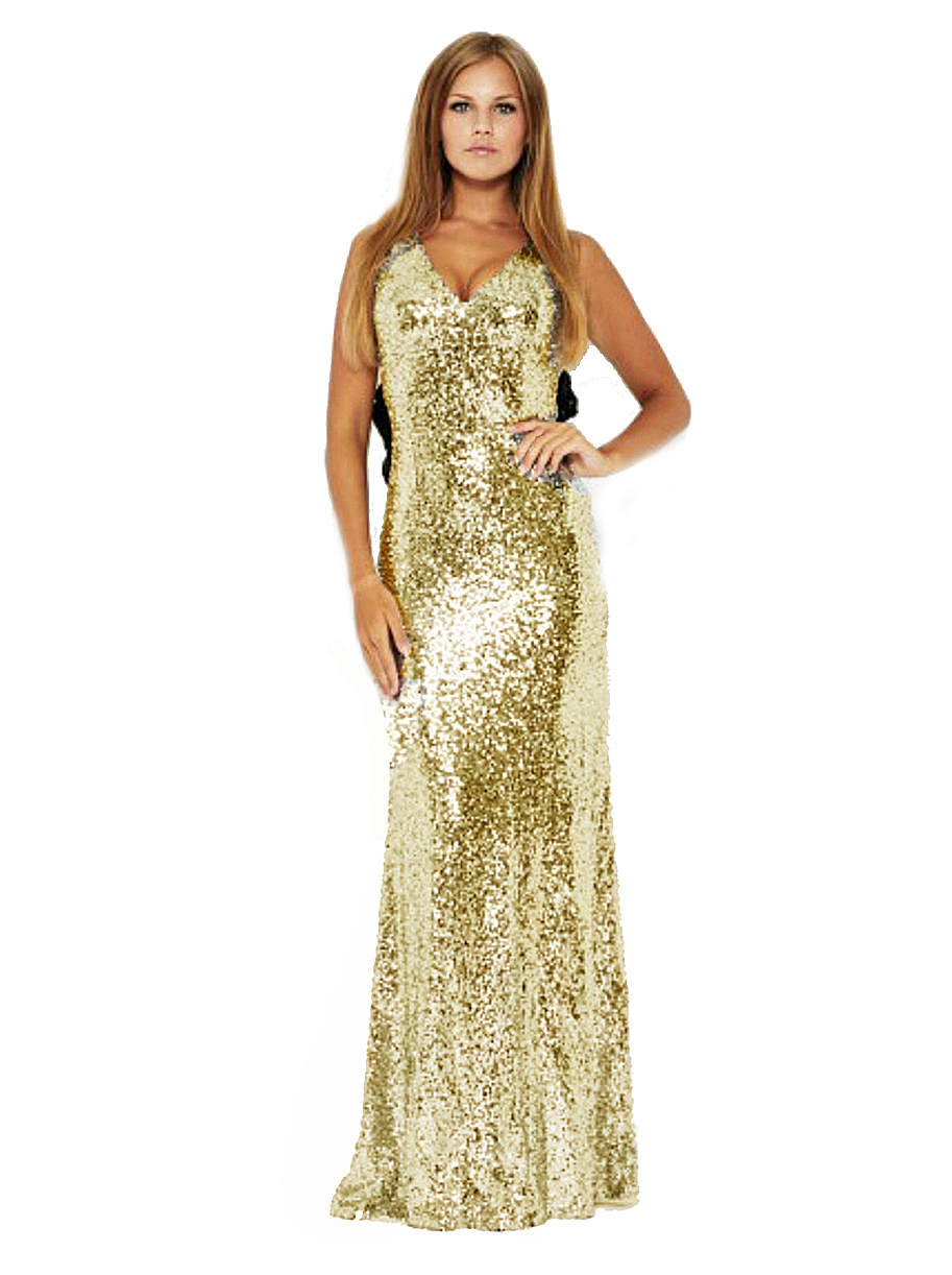 Gold Sequin Maxi Fishtail Dress