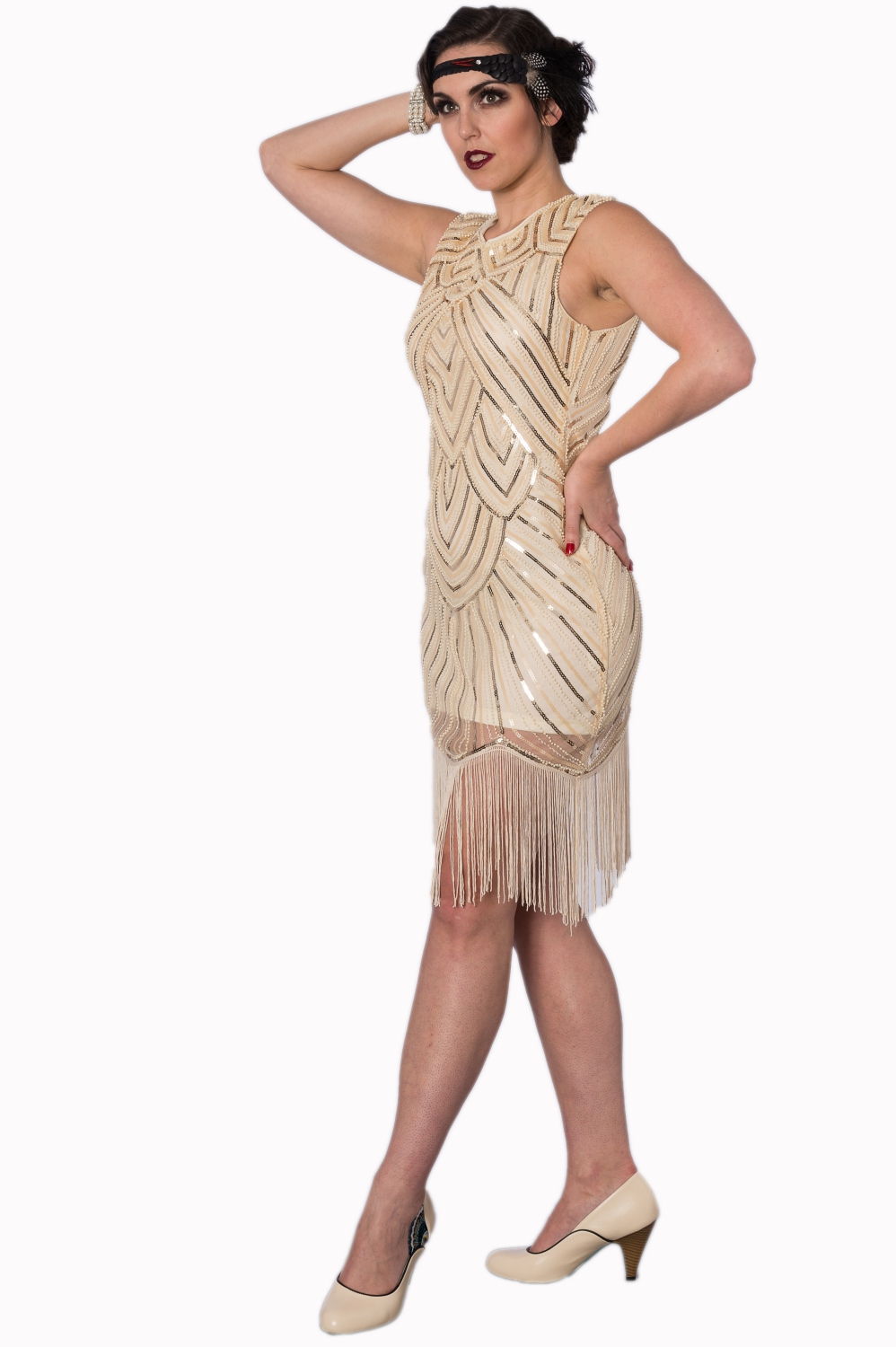 Great Gatsby Beige Sequin Dress