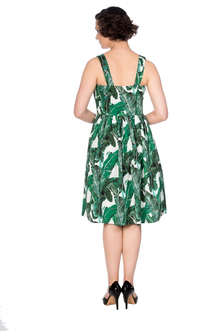 Banned Retro 50s Tropical Green Leaf Swing Dress