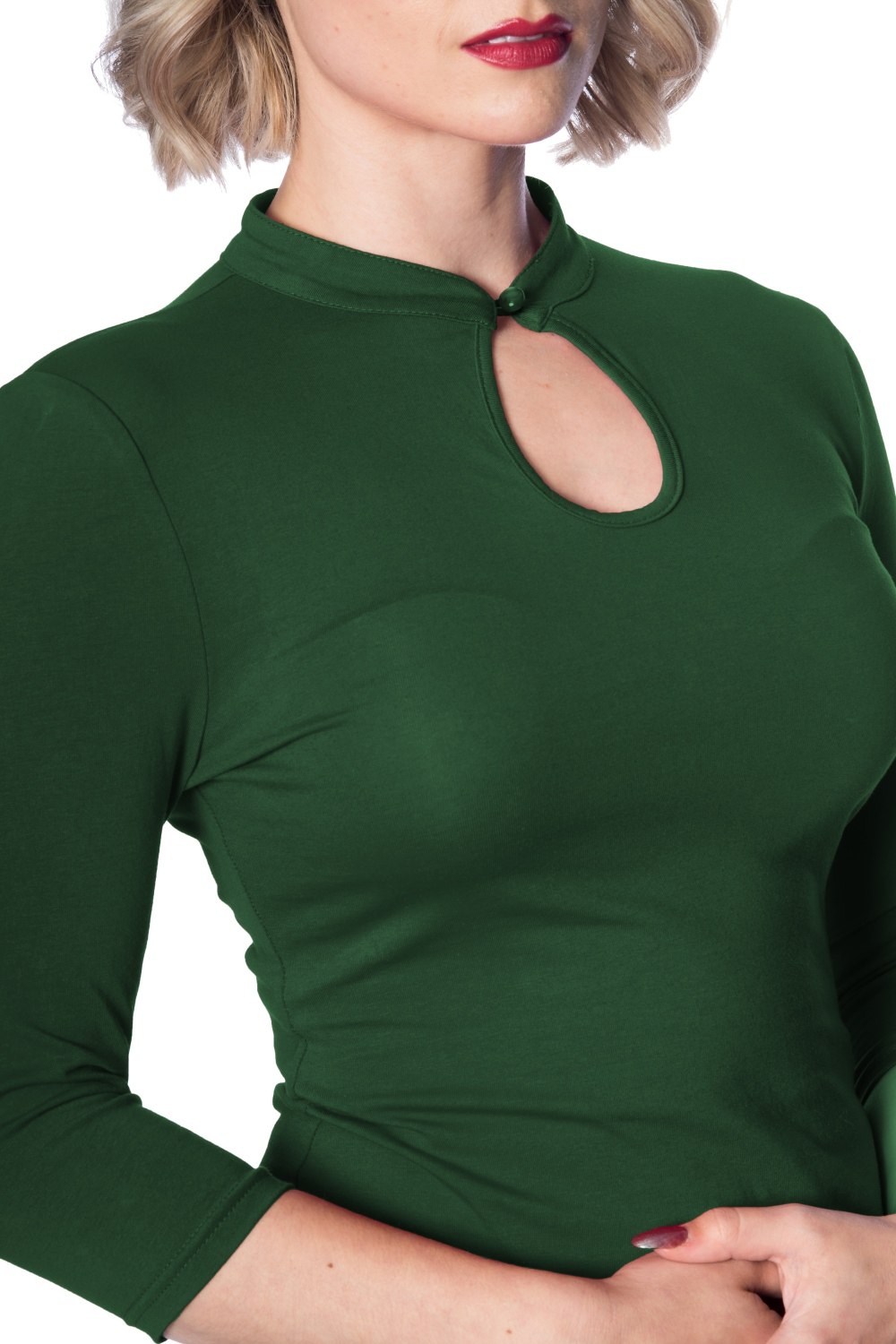 Banned Retro Green 50s Mandarin Collar Top