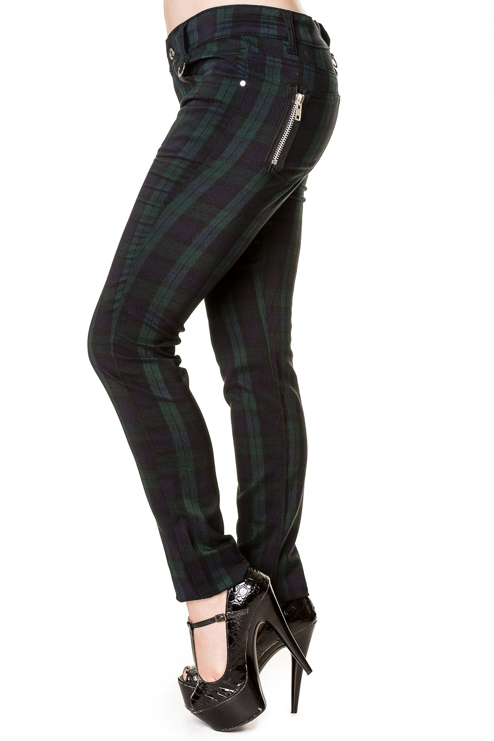 Ladies Banned Blue Tartan Emo Punk Skinny Goth 80s Jeans
