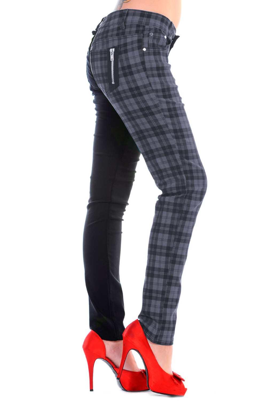 Ladies Banned Grey Half Tartan Skinny 80s Jeans