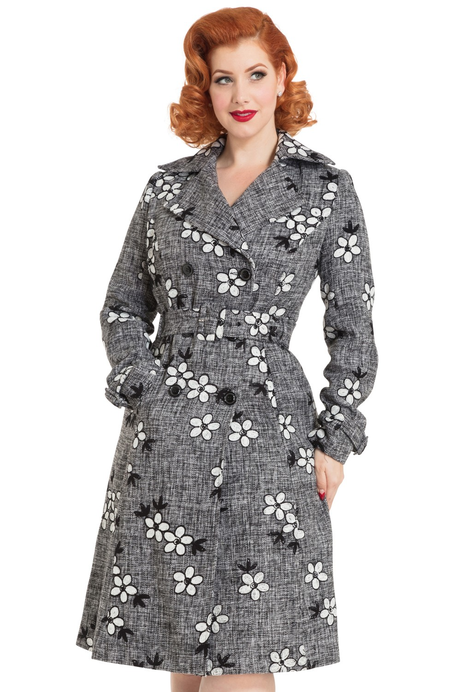 60s Marjorie Floral Coat In Grey