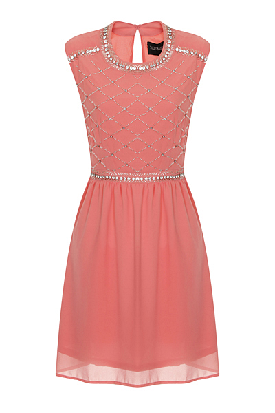 Nazz Collection Hana Coral Chiffon Mini Prom Dress