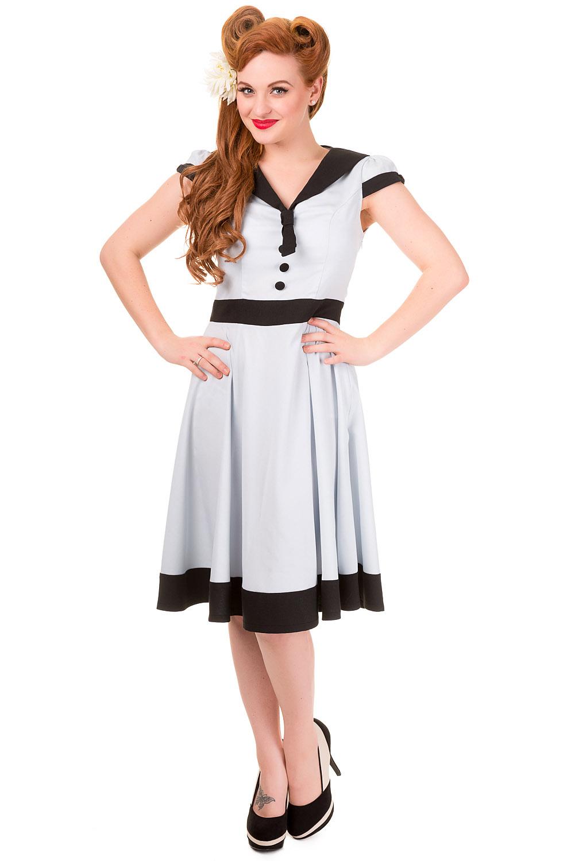 Banned Vintage Cream Heartlines Sailor Dres