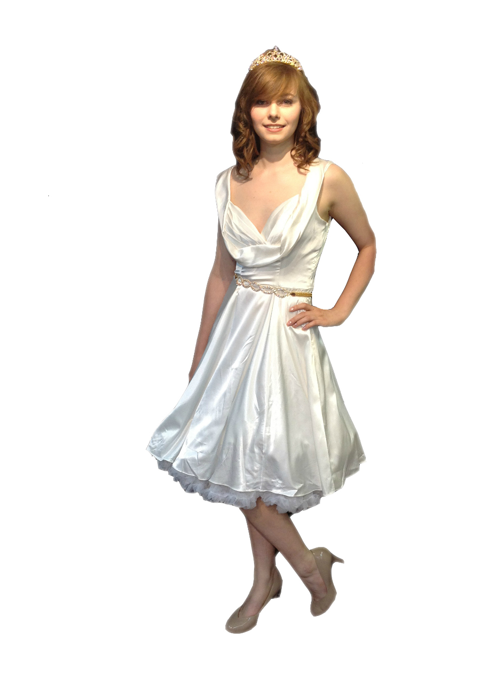 Ivory Satin Vintage 50s Petula Prom Dress