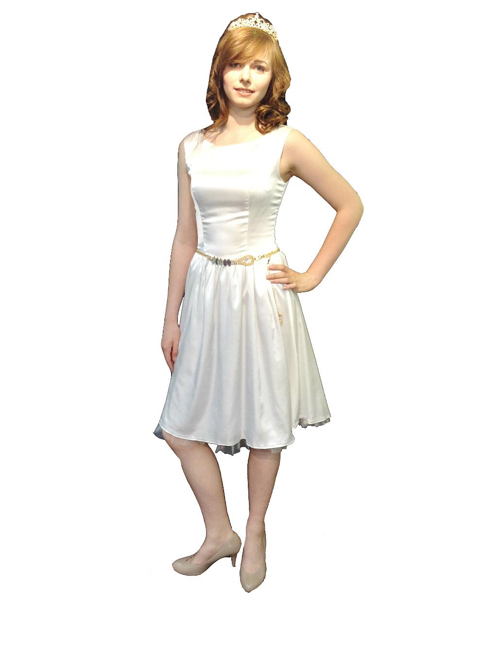 Ivory Satin Vintage 50s Audrey Prom Dress