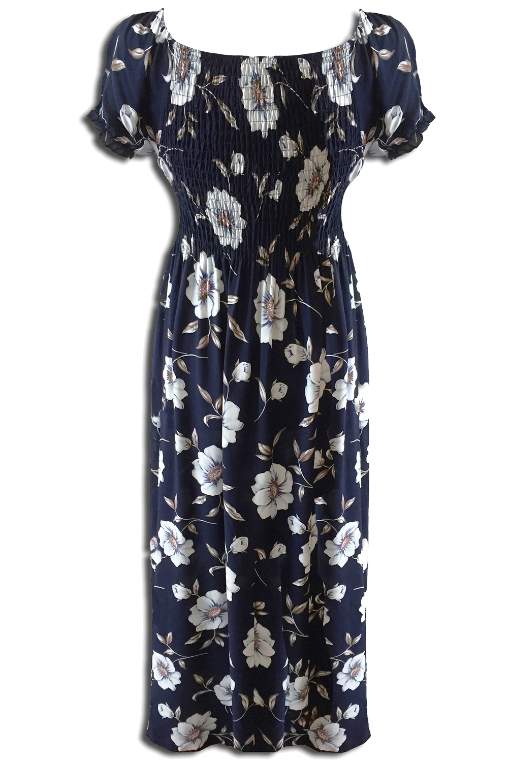 Katharine 70s Floral Maxi Summer Dress In Navy