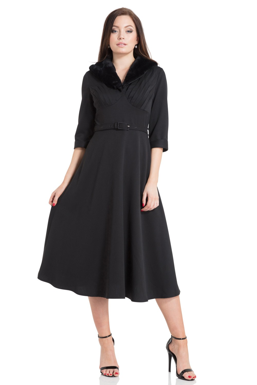 40s Lia Faux Fur Dress In Black