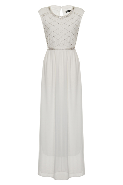 Nazz Collection Lizzie White Chiffon Maxi Prom Dress