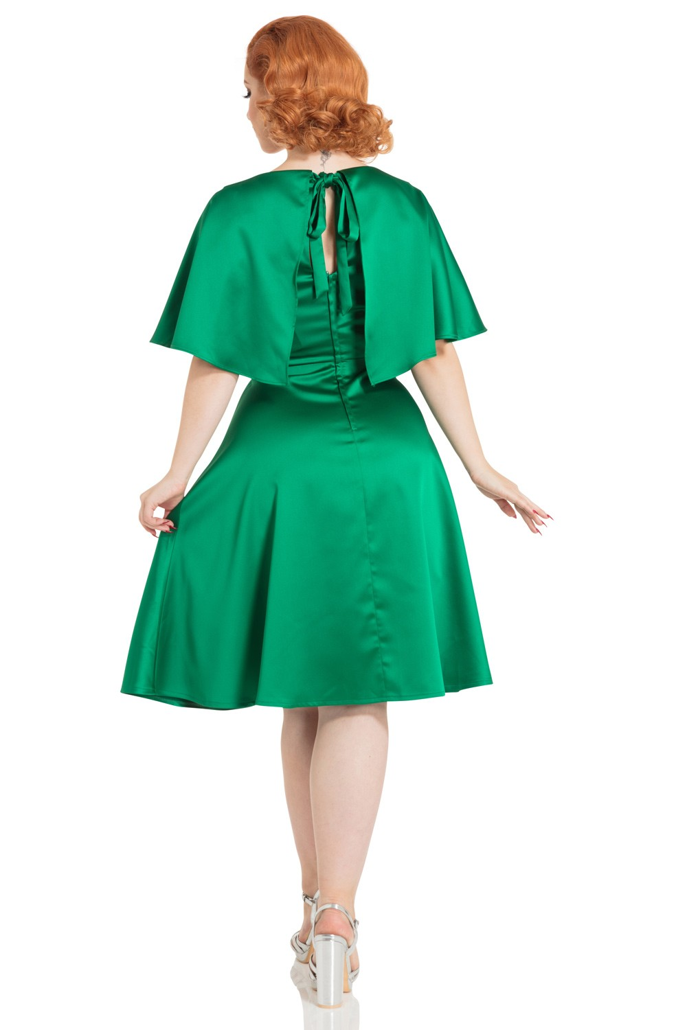 Vixen Mariah 1930s Cape Dress In Emerald