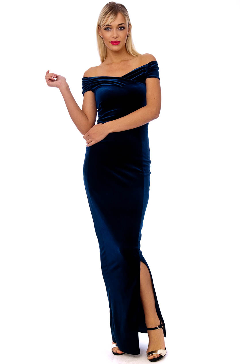 Vintage 50s Navy Marilyn Velvet Wiggle Maxi Dress