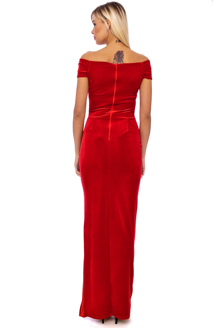Vintage 50s Red Marilyn Velvet Wiggle Maxi Dress