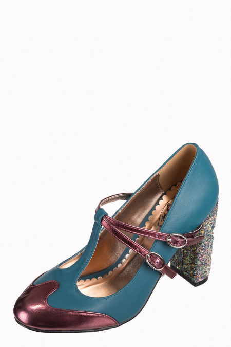 Dancing Days Modern Love 60s Teal Glitter Shoes
