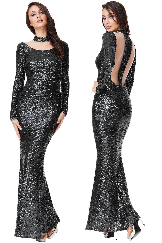Monroe Sequin Black Maxi Fishtail Choker Dress