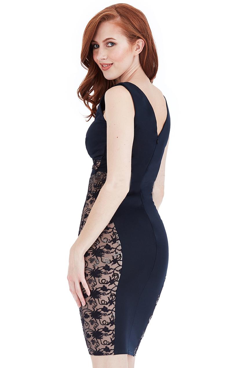 Andrea Glitter Lace Panel Mini Navy Dress