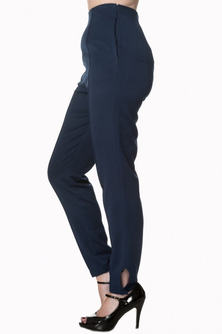 Banned Retro Tempting Fate Navy 50s Trousers