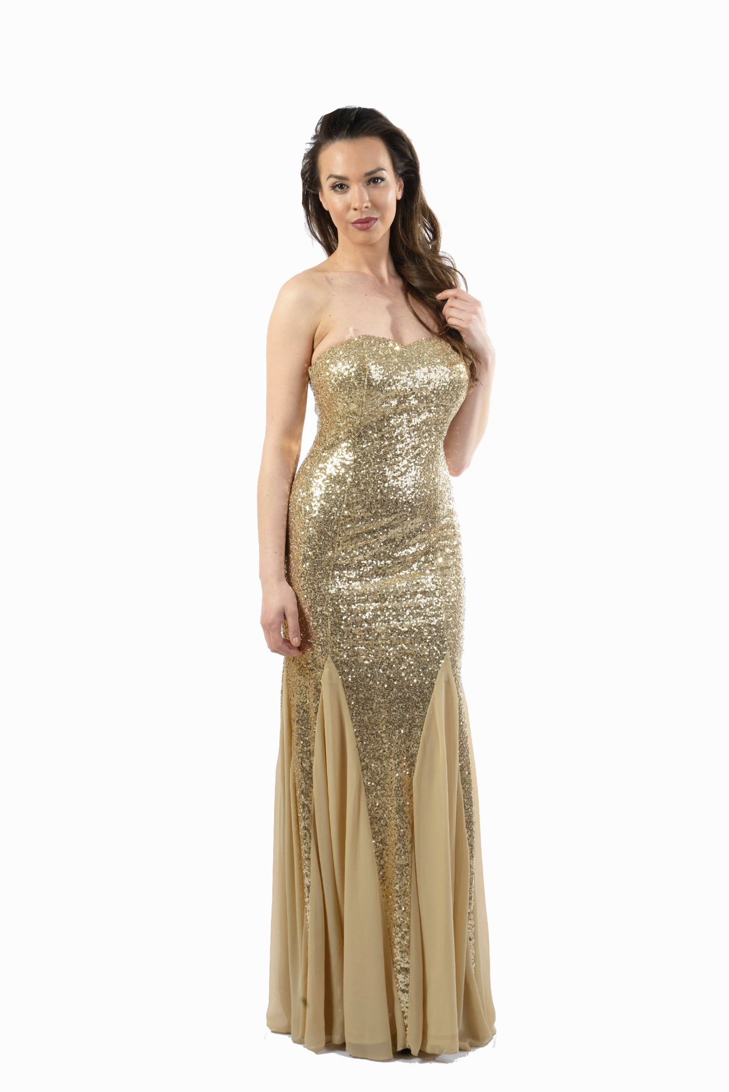 Gold Sequin Strapless Maxi Prom Dress