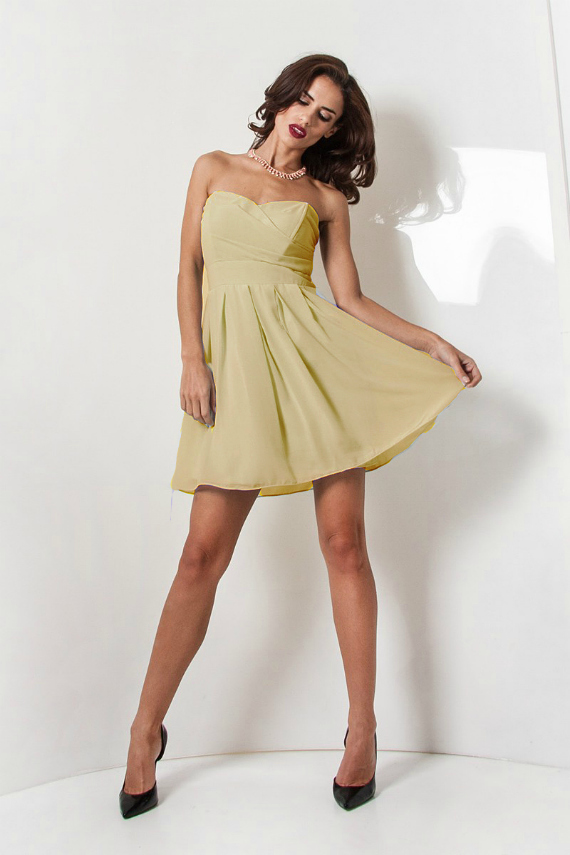 TFNC Elida Nude Chiffon Dress