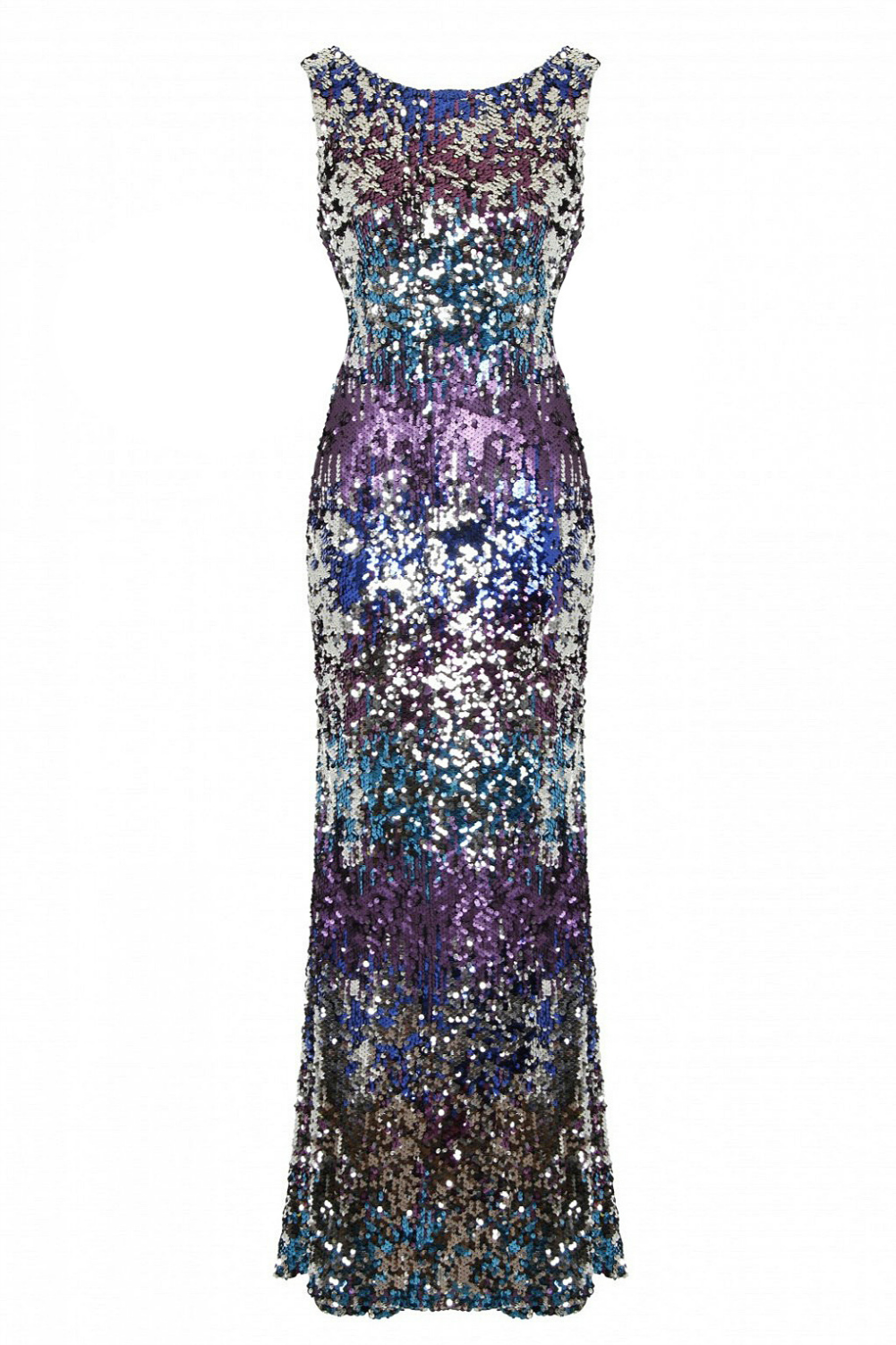 Nazz Pia Maxi Fishtail Milticoloured Sequin Dress