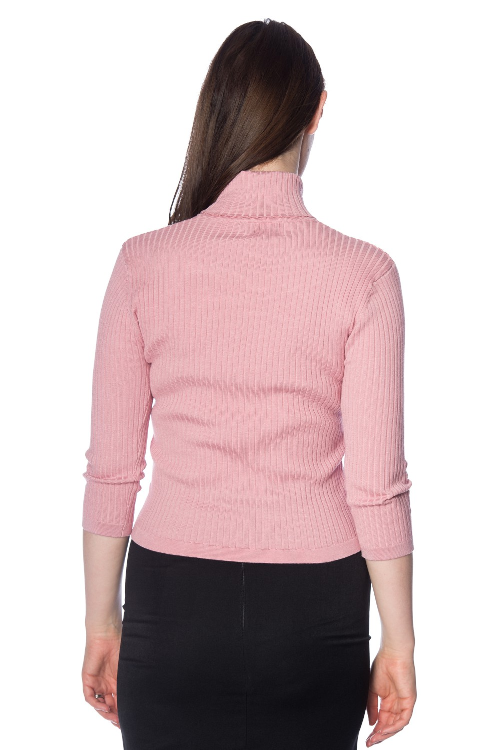 Banned Retro 60s Dusky Pink Louise Turtleneck Knit Top