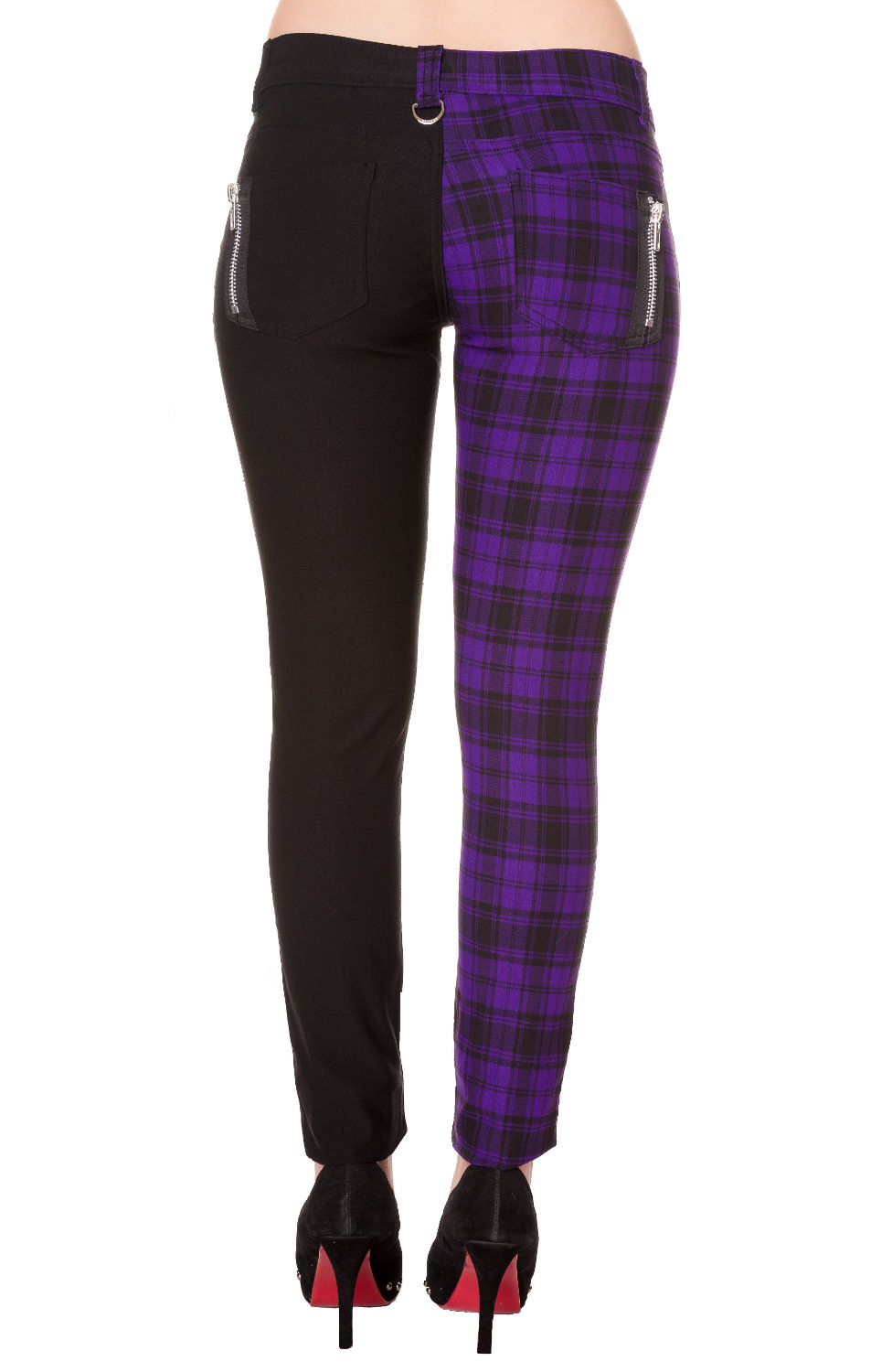 Ladies Banned Purple Half Tartan Skinny 80s Jeans