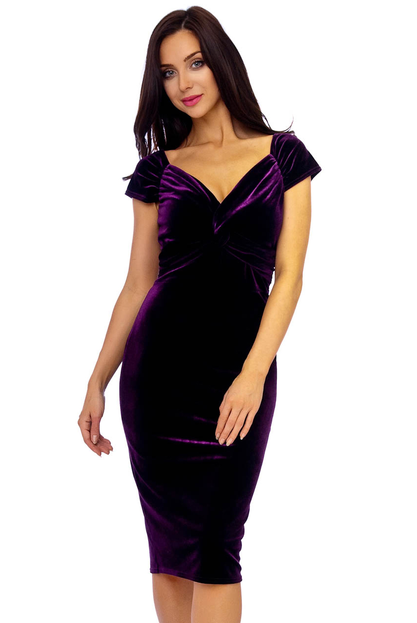 Vintage 50s Purple Marilyn Velvet Wiggle Dress