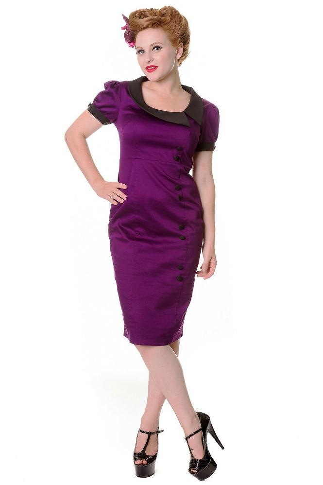 Banned Purple Collared Retro Midi Dress