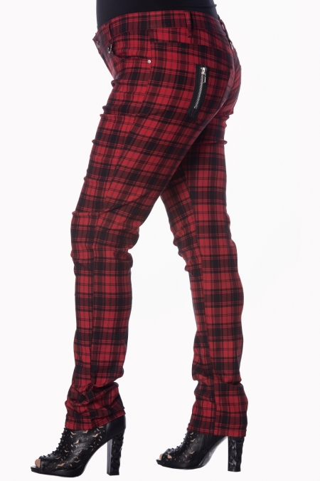 Ladies Banned Red Tartan Emo Punk Skinny Goth 80s Jeans