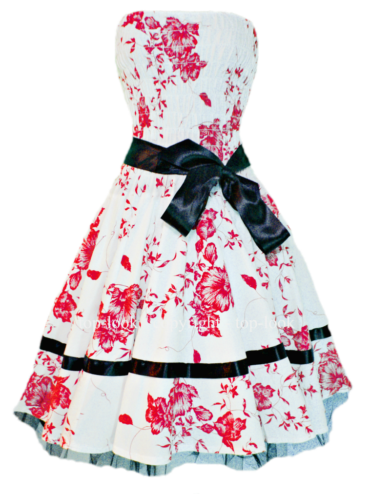 Red Floral Summer Prom Dress