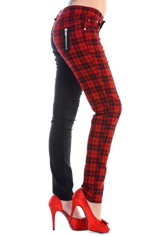 Ladies Banned Red Half Tartan Skinny 80s Jeans