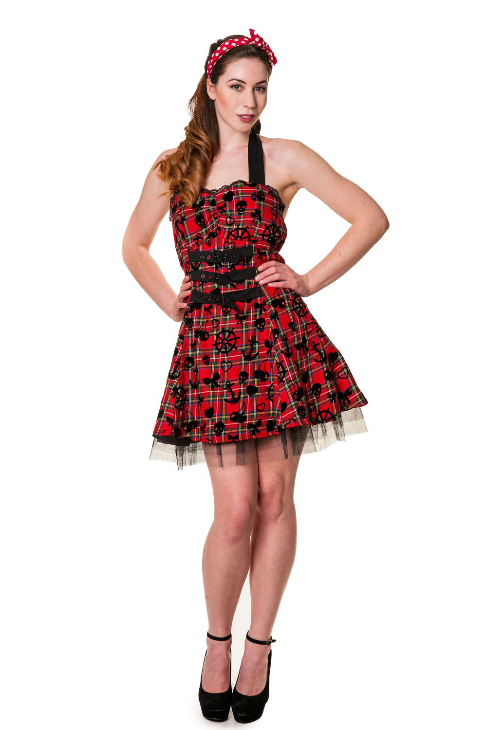 Banned Vintage Punk Red Tartan Dress