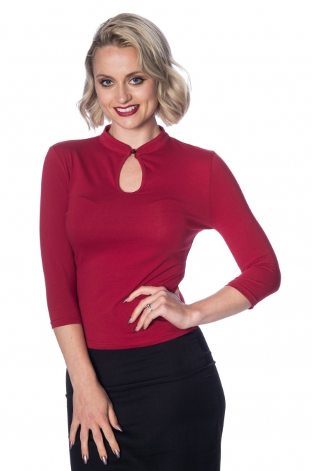 Banned Retro Red 50s Mandarin Collar Top