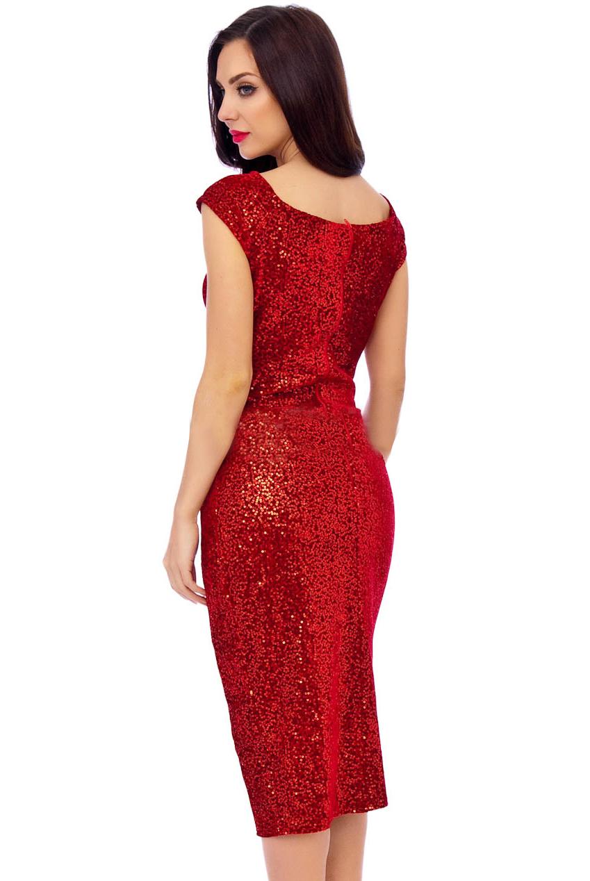 50s Sacha Red Sequin Velour Pencil Party Midi Dress