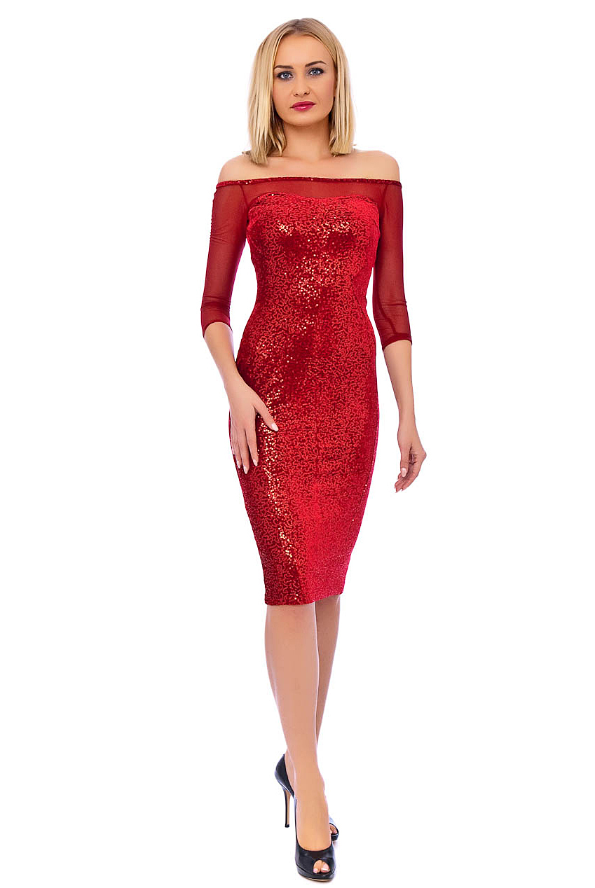 Red Sequin Midi Christmas Dress