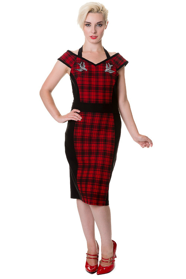 Banned Red Tartan Swallow Pencil Dress