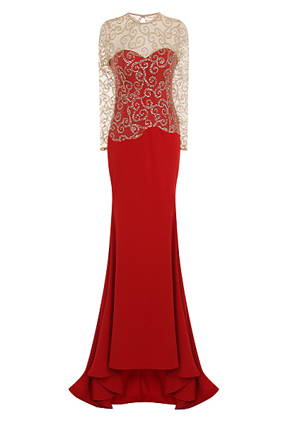 Red Backless Maxi Mermaid Sparkle Dress
