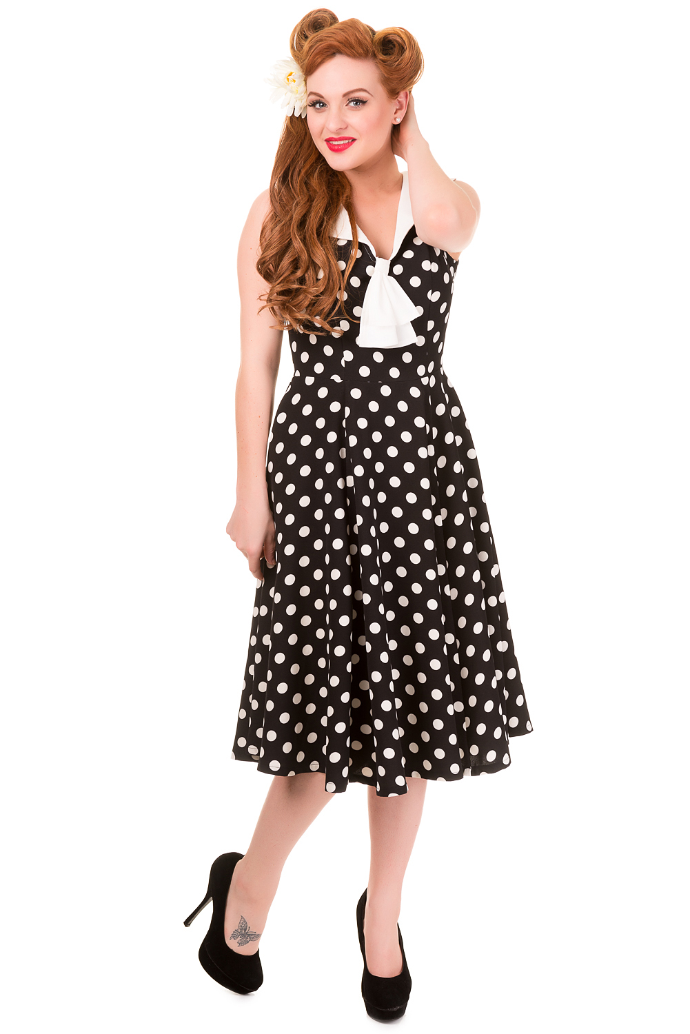 Banned Vintage Black Polka Dot Dress