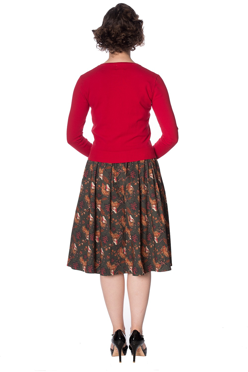 50s Rocking Robin Cardigan In Dark Red